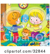 Clipart Illustration Of A Cat Watching A Brother And Sister Play With A Balloon