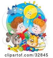 Clipart Illustration Of A Sun Shining Down On A Bird Dog Cat Toys And A Boy And Girl