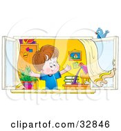 Clipart Illustration Of A Happy Boy Holding His Arms Up And Looking Out Through His Window