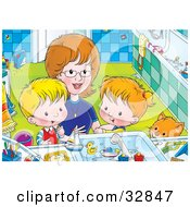 Clipart Illustration Of Mom Bending Down To Help A Boy And Girl Clean Themselves Up In A Bathroom by Alex Bannykh