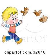 Clipart Illustration Of A Blond Boy Running Behind Three Brown Birds by Alex Bannykh