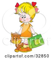 Clipart Illustration Of A Cat Following A Blond Girl On Her Way To School