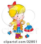 Clipart Illustration Of A Blond Girl In A Coat Standing By Mittens And A Hat by Alex Bannykh