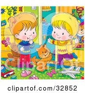 Clipart Illustration Of A Cat Playing With A Happy Boy And Girl In A Messy Bedroom