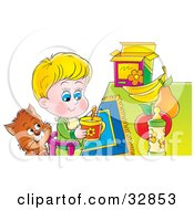 Clipart Illustration Of A Cat Watching A Little Boy In A High Chair As He Eats Breakfast by Alex Bannykh