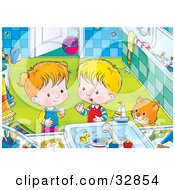 Clipart Illustration Of A Cat Watching A Boy And Girl Playing With Toys In A Bathroom Sink