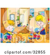 Clipart Illustration Of A Cat Playing With A Boy In A Girl In Their Room