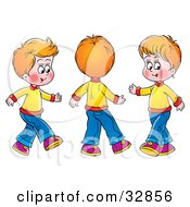 Clipart Illustration Of Three Little Boys Spinning And Running