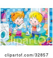 Clipart Illustration Of A Boy And Girl Standing By A Washing Machine A Cat Standing Behind A Doorway by Alex Bannykh