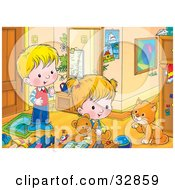 Clipart Illustration Of A Boy And Girl Playing In A Room Watching A Cat Groom Its Paw