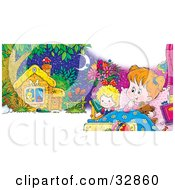 Clipart Illustration Of A Little Girl Cuddling In Bed With Her Teddy Bear A Doll Dreaming Of A Cute Little Cabin by Alex Bannykh