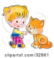 Clipart Illustration Of A Little Blond Girl Crouching To Pet A Cat
