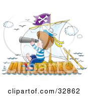 Clipart Illustration Of A Boy In A Sailor Suit Peering Through Binoculars On A Raft