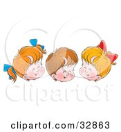 Clipart Illustration Of Three Children Two Girls And One Boy Giggling With Their Eyes Closed