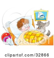 Clipart Illustration Of A Hyper Puppy Beside A Little Boys Bed