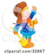 Clipart Illustration Of A Happy Boy Dressed In Winter Clothing Waving And Holding A Shovel