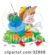 Clipart Illustration Of A Boy Hiking With Gear On His Back Reading A Map by Alex Bannykh