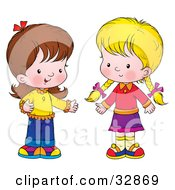 Clipart Illustration Of Two Little Girls Standing Together And Talking