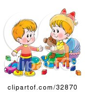 Little Brother And Sister In A Toy Room Playing With Blocks Balls Cars And A Teddy Bear