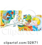 Clipart Illustration Of White And Brown Ferrets Leaping Through A Window Watching A Boy Wake Up In Bed by Alex Bannykh