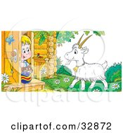 Clipart Illustration Of A Boy And His Cat Peeking Out A Front Door Looking At A Goat by Alex Bannykh
