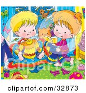 Clipart Illustration Of A Brother And Sister Picking Out Clothes For The Next Day A Bird Peeking In From Outside