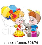 Clipart Illustration Of A Puppy Playing With A Boy And Girl With Balloons