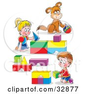 Clipart Illustration Of A Boy And Girl Brother And Sister And Their Puppy Playing With Blocks And A Ball by Alex Bannykh