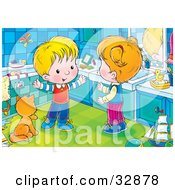 Clipart Illustration Of A Happy Boy Talking With His Sister While Standing By A Cat Kin A Bathroom