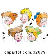 Group Of Boys And Girls In Choir Singing Surrounded By Music Notes