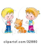 Clipart Illustration Of A Grooming Cat Between A Little Boy And Girl