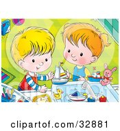 Clipart Illustration Of A Boy And Girl Playing With Bath Toys In A Sink