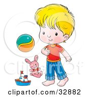 Clipart Illustration Of A Cute Little Boy Standing With A Ball Stuffed Animal And Boat