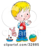 Clipart Illustration Of A Blond Boy Playing With A Ball Stuffed Animal And Boat