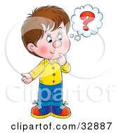 Clipart Illustration Of A Curious Little Boy Touching His Chin While Thinking