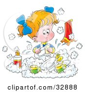 Clipart Illustration Of A Little Blond Girl Happily Washing Dishes In A Soapy Kitchen Sink by Alex Bannykh