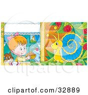 Clipart Illustration Of A Cute Girl And Cat Holding A Cake Out To A Snail In A Raspberry Bush by Alex Bannykh