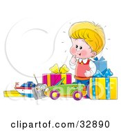 Clipart Illustration Of A Little Blond Boy Excited Over His New Toys And Unwrapped Birthday Presents