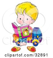 Clipart Illustration Of A Blond Boy Sitting On A Toy Truck Reading A Book About Mushrooms