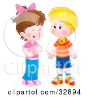 Clipart Illustration Of A Little Girl Giggling While Talking To A Boy