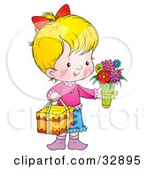 Clipart Illustration Of A Sweet Little Girl Carrying Flowers And A Gift On Mothers Day