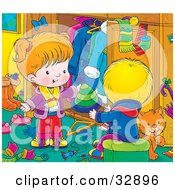 Clipart Illustration Of A Grooming Orange Cat In A Room With A Little Boy In Girl As They Go Through Their Winter Clothes