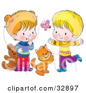 Clipart Illustration Of A Cat Boy And Girl Chasing A Butterfly And Playing by Alex Bannykh