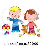 Boy And Girl Playing With A Teddy Bear Blocks And A Car