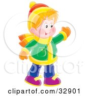 Clipart Illustration Of A Friendly Boy In Winter Clothes Waving At Friends