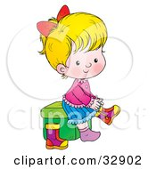 Blond Girl Sitting On A Stool And Putting Her Boots On