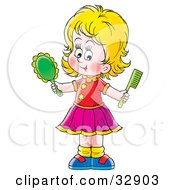 Clipart Illustration Of A Blond Girl Holding A Hand Mirror And Comb