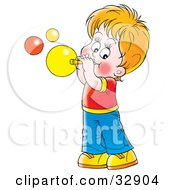 Clipart Illustration Of A Happy Boy Blowing Bubbles With A Wand by Alex Bannykh