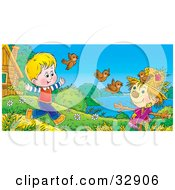 Clipart Illustration Of A Boy Running And Chasing Birds Near A Scarecrow