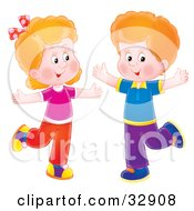 Clipart Illustration Of A Happy Boy And Girl Dancing With Their Arms Out